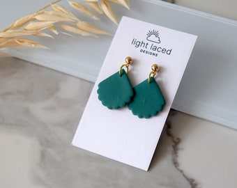 EXTRAORDINARY | CLEARANCE | Scallop Shells - Teal Green | Polymer Clay Earrings | Woman Gift | Minimal