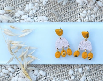 WONDER | CLEARANCE | Yellow and Oatmeal Rainbow Clay Statement Dangle Earrings
