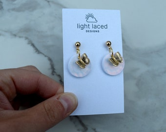 EVOLVE | Iridescent White Shimmer | Clay Earrings w Gold Butterflies | Minimal | Spring | Summer | Insect | Inspirational Jewelry