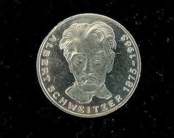 5 Deutsche Mark 1975 Albert Schweitzer - 5 DM Silver Coin Germany