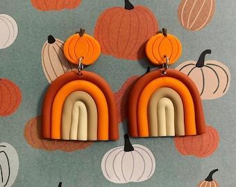 Pumpkin Clay Earrings