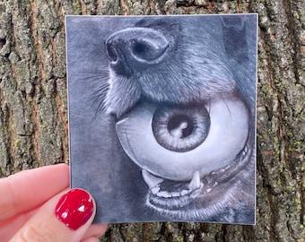 Dog Eye Creepy Waterproof Stickers | Eyeball Artwork, Pencil Drawing, Halloween, Vinyl Sticker, Decal Stickers, Art, Spooky, For Laptop