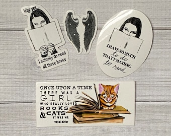 Book Lovers, Vinyl Stickers | Set of 4, Four Pack | Waterproof, Sticker Set | Bookworm, Reader, Read, Book, Gift, Cats, Librarian