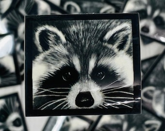 Raccoon Sticker, Animal, Pencil Drawing, Vinyl Sticker, Decal Stickers, Art, Gifts, For Laptop, Aesthetic, for Book, Cute