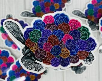 Waterproof Turtle Sticker for Waterbottle, Vinyl Sticker, Turtle Decal, Floral Turtle, Sea Turtle, Sea Creature, Turtle Git, Turtle Art
