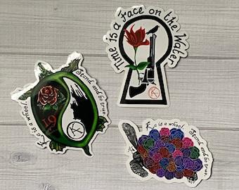 Set of Three, Stickers | 3, Stephen King, Dark Tower, Turtle, Rose, Gun, Revolver, Ka, 19, Waterproof, Vinyl Stickers, Book Lover, Bookworm