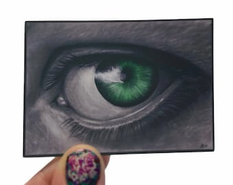 Vinyl Sticker, Eyeball, Green Eye, | Art By Alycia, Drawing, Matte, Vinyl, Sticker, Water Resistant