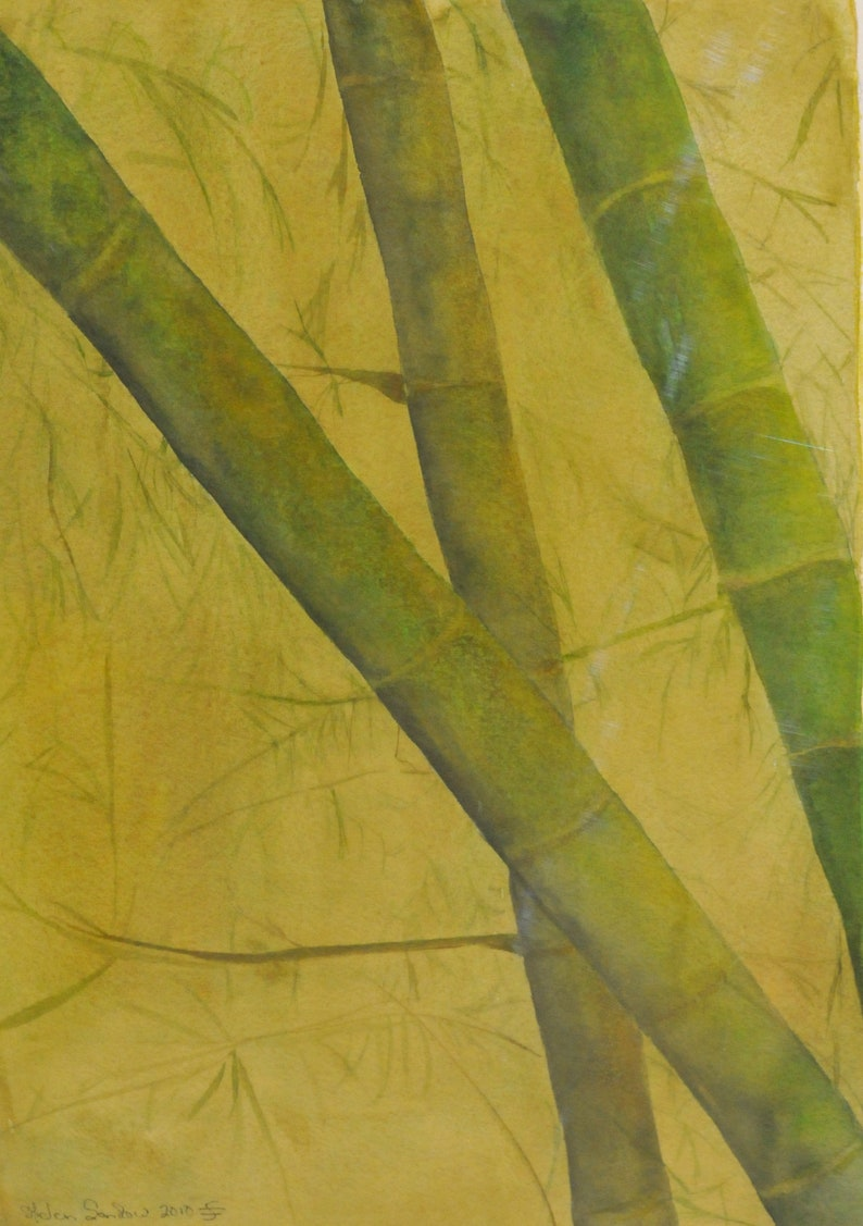 perfect for quiet place at home Original Watercolor Bamboo Forest