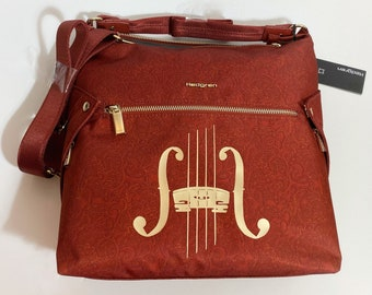 String Bridge with f holes (red paisley convertible hobo)