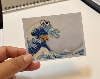 Cookie Monster Great Wave sticker