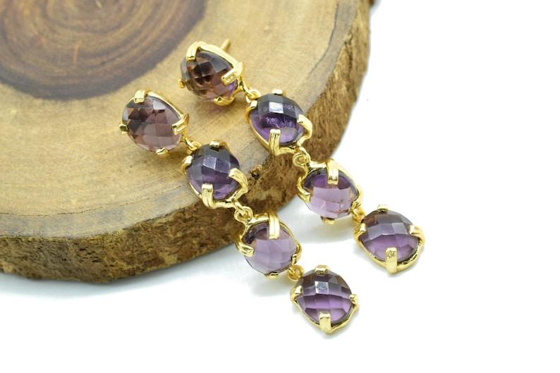 Christmas gift Idea for Mom Genuine Amethyst Earring,Dangle /& drop earring,February Birthstone earring,Purple color Earring,Bridesmaid gift