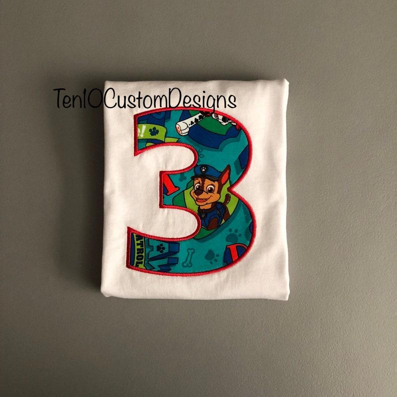 Police Dog Character Fabric Embroidered Appliqu\u00e9 Number T-Shirt, 3rd Third Boys Birthday shirt
