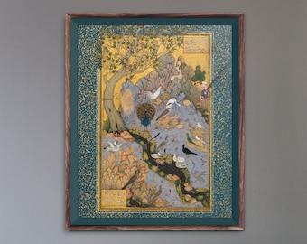 Concourse Of The Birds (Traditional Persian Miniature Art by Habiballah of Sava) A4 A3 A2 Rare Hi-Res Giclée Print, also available Framed