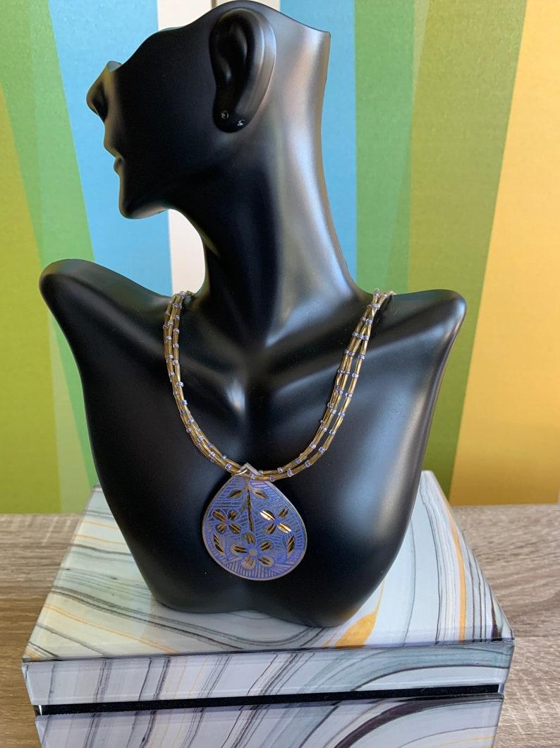 beaded necklace Blue and Gold Pendant