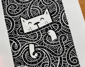 Cat tangle, cute cat playing with wool - Linocut print - handmade art print - contemporary print - home decor -free uk shipping