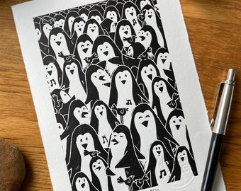 Crowded - penguin print  - huddle - group - friends - Linocut print - handmade art print - contemporary print - home decor -free uk shipping