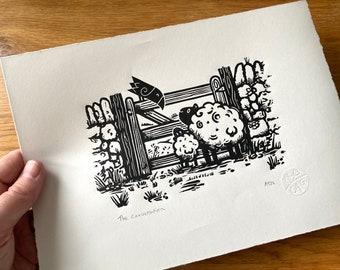 The conversation - countryside - sheep crow gate - Linocut print - handmade art print - contemporary print - home decor -free uk shipping