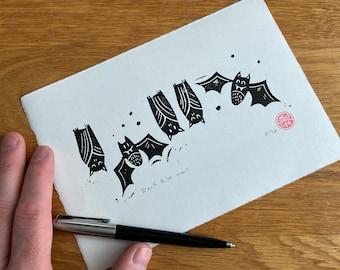 Don't bite me! Bats - Linocut print - handmade art print - contemporary print -for halloween or everyday home decor -free uk shipping