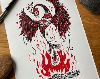 Phoenix print - bird and flames- handprinted - linocut - red black -contemporary - home decor - handmade art print - free uk shipping