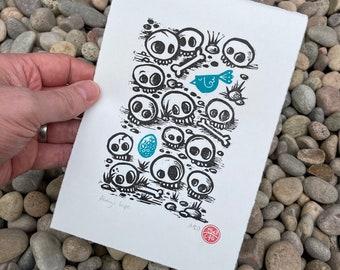 Always hope - handprinted Linocut print - Skulls, bird and egg - contemporary print- home decor - handmade art print - free uk shipping