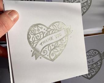 Thank you card - blank greeting card - heart - bird - foliage - handprinted - free UK postage