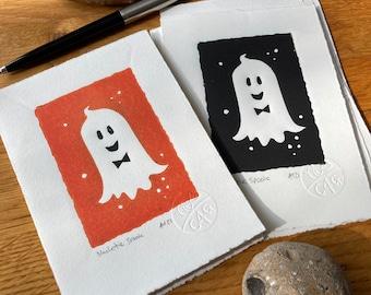 Black tie spook- Cute ghost - Halloween-Linocut print - handmade art print - contemporary print - home decor -free uk shipping