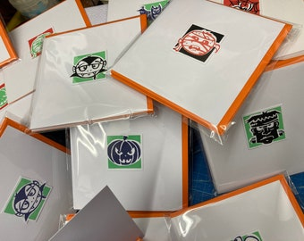 Halloween cards, pack of 4 spooky handprinted and handmade cards with orange envelopes