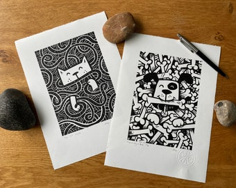 SPECIAL OFFER Cat and Dog double buy discount - Linocut print - handmade art print - contemporary print - home decor -free uk shipping