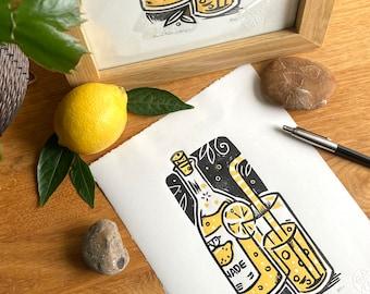 When life gives you…  print - lemonade- handprinted- drink - linocut  -contemporary - home decor - handmade art print - free uk shipping