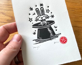 Magic- small rabbit in a top hat- Linocut print - handmade art print - contemporary print - home decor -free uk shipping
