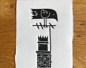 Chimney crow - Crow bird - Linocut print - handmade art print - contemporary print - home decor -free uk shipping