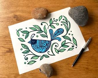 Limited edition Blue bird print  - handprinted - linocut - colourful contemporary print - home decor - handmade art print - free uk shipping