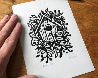 Home Bird - Linocut print - handmade art print - contemporary print - home decor -free uk shipping