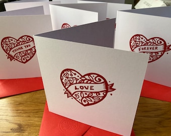 Heart - Blank greeting card with envelope  - various captions - Valentine's - anniversary - thank you  - love - free postage in UK
