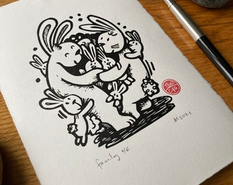 Family - group hug - friendship - rabbits- Linocut print - handmade art print - contemporary print - home decor -free uk shipping