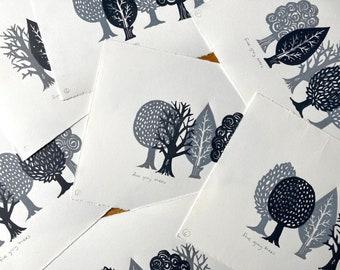 Five grey trees - various combinations - Linocut print - handmade art print - contemporary print - home decor -free uk shipping