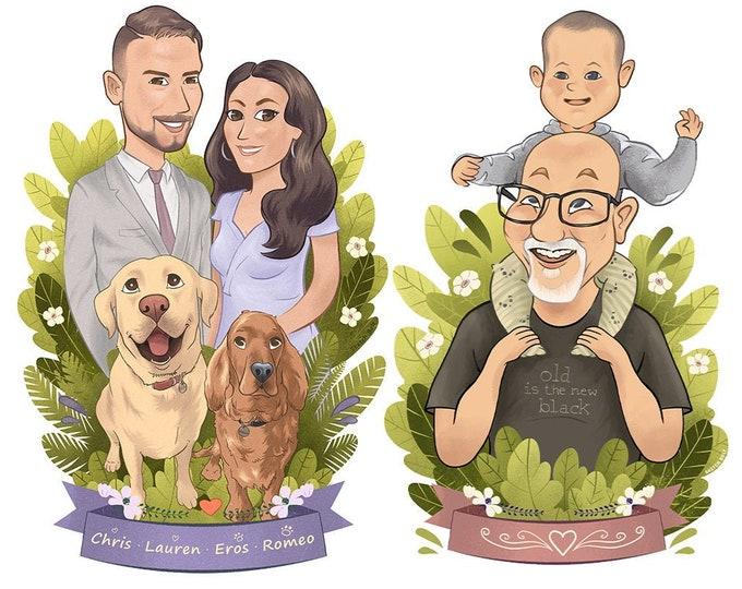 Digital Portrait   Caricature   Gift Idea for Him, Her, Family   Birthday   Wedding   Anniversary   Valentine's Day