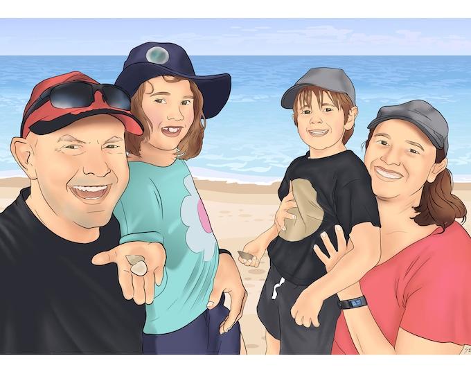 Digital Portrait   Illustration   Family Portrait   Printable Portrait   Gift   Personalised   Custom Theme