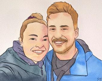 Portrait Painting   Handmade   Artist Quality   Gift Idea for Him, Her, Family   Birthday   Wedding   Anniversary   Valentine's Day