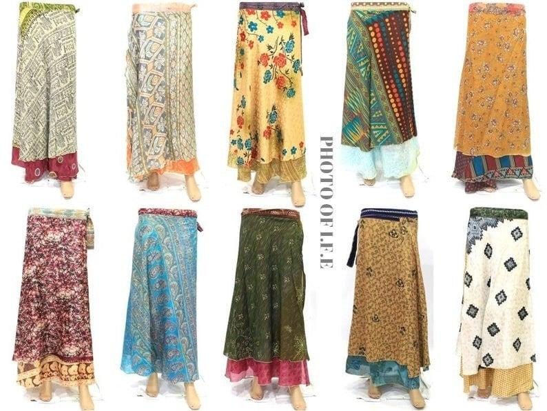 Assorted Colors 5 PCs Vintage Indian Silk Maxi Skirt,Bohemian Skirt,Floral maxi skirt,Hippie Skirts,Boho skirt,Summer skirts,Wrap skirt