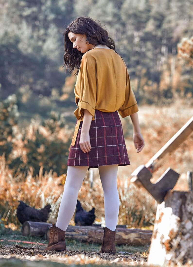 Maroon Bohemian Skirt Boho Mini Skirt Plaid Winter Skirt