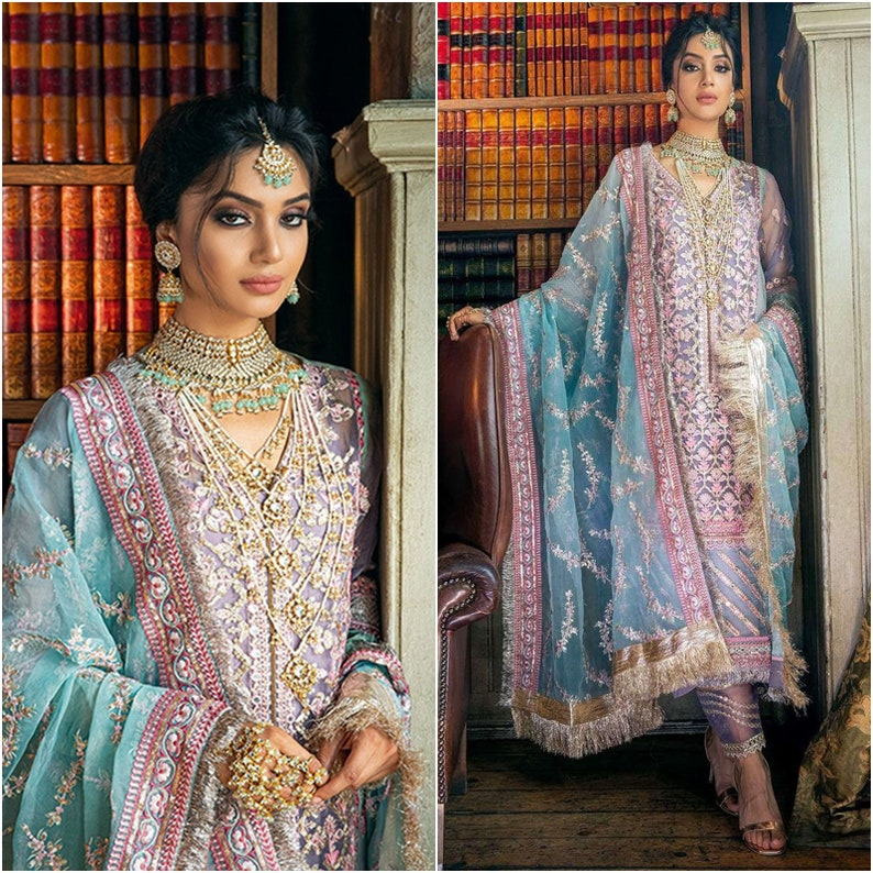 Pakistani dresses Indian Wedding Clothes Organza Fabric dress image 0
