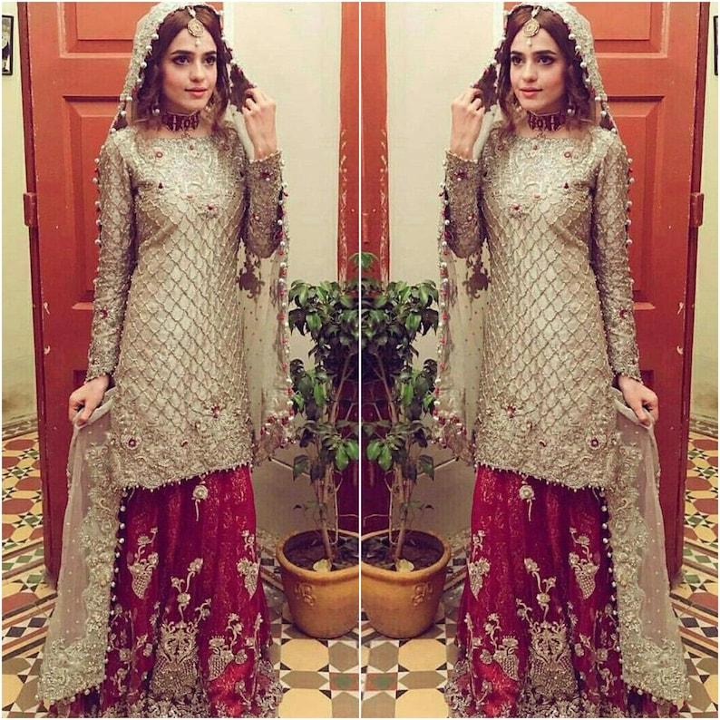 Custom Stitched Pakistani Indian Wedding dresses Bridal Red Lehnga Collection shirt Eid Style Suits Latest Clothes Shalwar Kameez for USUK
