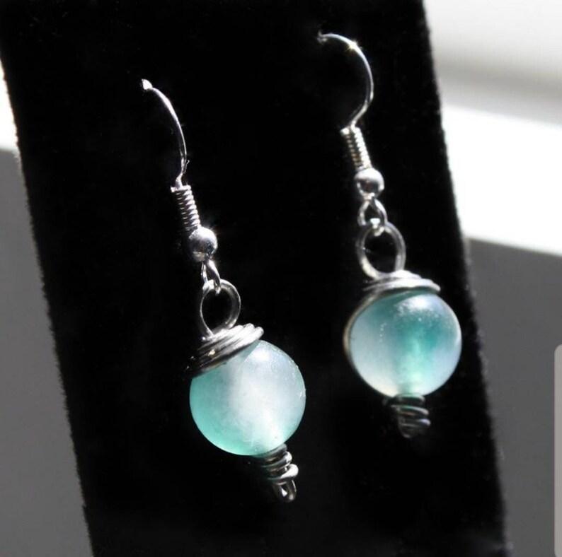 Green Jade Crystal Ball Earrings ~ Wire Wrapped Genuine Healing Stone Jewelry Unisex ~ Heart Chakra Balancing ~ Reiki Healer Earrings Gift