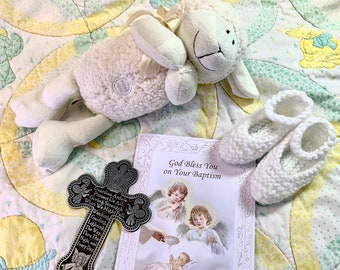 Baptism Gift | Baptism | Baby's Baptism | Baptism Cross | Guardian Angel Cross | Baptism Card | Plush Toy | Plush Lamb | Baptism Lamb | Lamb