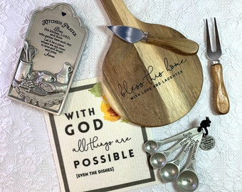 Baking Gift | Cooking Gift | Host Gift | Hostess Gift | Hostess Thank You | Gift for Her | Cheese Plate | Kitchen Prayer | Measuring Spoons