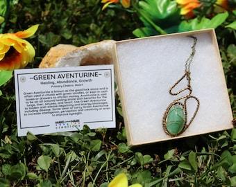 Green Aventurine Wire Wrap Pendant With Bronze Wire Wrap and Antique Bronze Chain, Green Aventurine Pendant, Green Aventurine Necklace