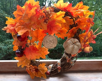 Handmade Fall Witch Wreath, Witch Decorations, Magick Woodburn Art, Witch Wreath, Fall Decorations, Fall Wreath