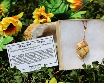 Polished Yellow Jasper Stone With Copper Wire Wrapping and Copper Chain, Yellow Jasper Pendant, Yellow Jasper Wire Wrap Necklace