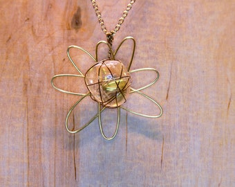 Citrine Wire Wrap Pendant With Gold Flower-Shaped Wire Wrap and Gold Chain, Citrine Pendant, Citrine Necklace, Crystal Jewelry